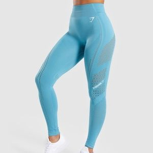 New GYMSHARK Blue Flawless Knit Seamless Tights